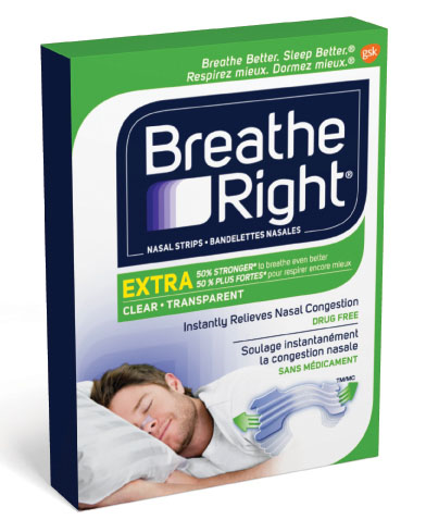 A box of Breathe Right Extra Clear nasal strips.